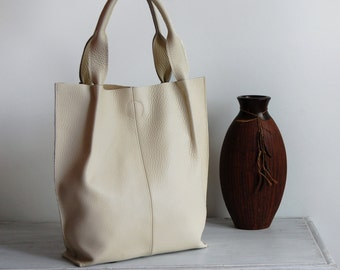Leather Tote Bag, Leather Shopper Bag, Large Handbag, Large Tote Bag,  Shoulder Bag, Handmade Tote, Gift For Her, Ecru Leather Tote