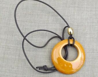 glazed ceramic pendant necklace series disk