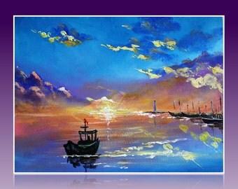 ship at sunset  Корабль на закате