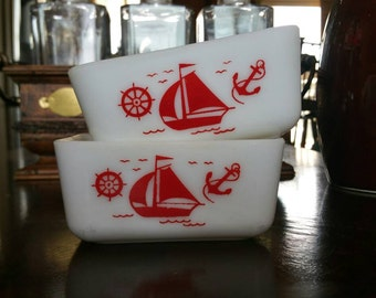 McKee Red Sailboat Fridge Dishes