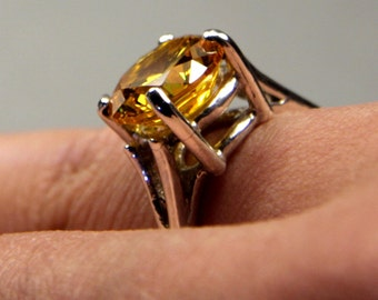 10mm Round AA Natural Citrine Sterling Silver Ring