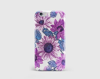 Hand Drawn Purple Flowers iPhone Case, Floral Stencil, Watercolour, Painting, Art, Phone Case Cover iPhone 7 iPhone 6 iPhone 5 \ hc-pp133