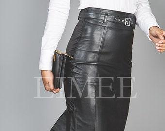 Full Grain Leather Skirt Elegant Fishtail Mermaid Style SHANEEZ