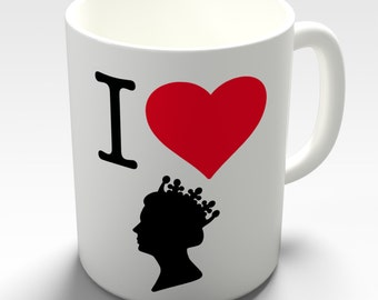 I Heart Love The Queen Ceramic Tea Mug