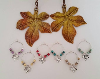 Fall Leaves Wine Charms (Set of 6)