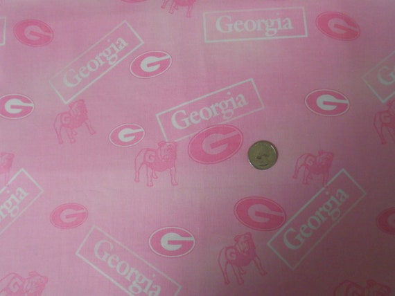 University Of Georgia Bulldogs Logo Pink Cotton Fabric Htf