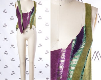 1970s Pieced Green and Purple Leather Sleeveless Top SIZE: XS, 2
