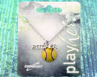 Customizable Softball Pitcher Enamel Necklace - Personalize with Jersey Number, Heart Charm, or Letter Charm! Great Softball Gift!