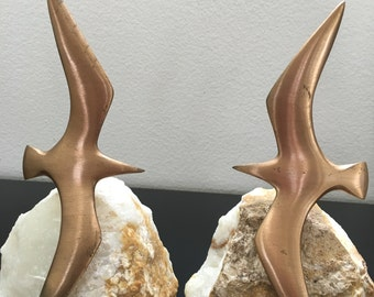 Vintage Bookends, Brass Segal Birds On Marble Base Bookends