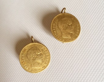 SOLD OUT / sold - gold earrings decorated with 2 pieces of 10 Francs