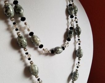 Set: Grey/Black Bead w/ Clear Glass Bead Necklace and Earrings