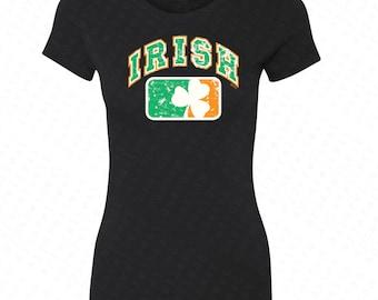 Irish Flag Ireland Flag with Irish Colored Shield Women's T-shirt  USA Flag 4th of July Tanks St Patrick's Day