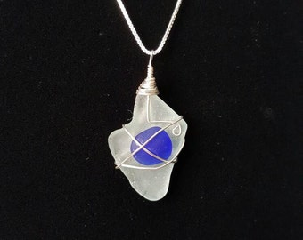Beach Glass Necklace - Sterling silver