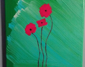 "Red Poppy original 8""x10""acrylic painting on canvas"