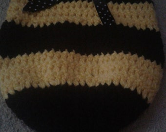Crocheted bumble bee cocoon