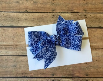 Blue Twirl Ribbon Bow