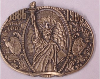 Vintage Mens New York Statue of Liberty 100 Years Commemortaive 1986 Belt Buckle