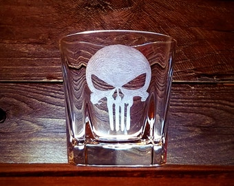 The Punisher Rocks Glass / Bourbon Glass / Hand Engraved / Gift for Him / Customizable Gift