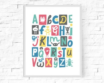 "Printable Monster Alphabet Print - Boys' Room - Boy's Bedroom - Nursery Print - Nursery Poster -  Instant Download - 8""x10"" and A4."
