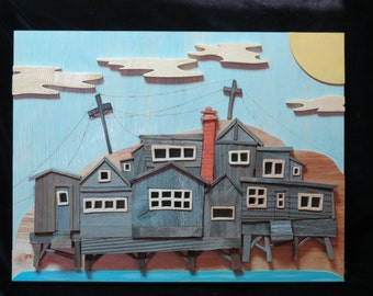 Wood art wall hanging Minion Cottages