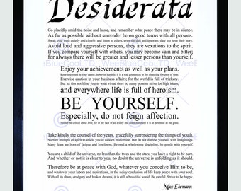 Quote Print - Inspirational Desiderata Ehrmann Go Placidly be Yourself Typography Poster FEQU024