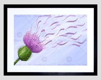 Scottish Painting Graphic Windy Thistle Scotland Evry Art Print Poster FEHP025