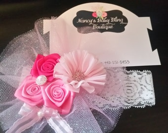Custome made pink tulle lace headband