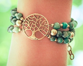 Turquoise Bracelet // Woman Bracelet // Gift For Her // Birthday Gift // Tree Of Life Bracelet // Zoisite Bracelet // Bridesmaid Gift