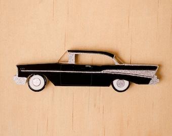Black Retro '57 Chevy Brooch