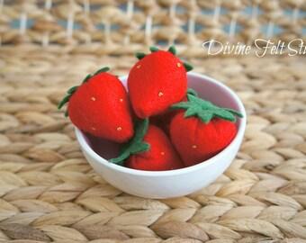Wool Felt Strawberries -Felt Food Pretend Play