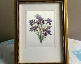 Vintage purple lilies framed art - printed on silky fabric - golden wood frame