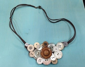 Hex brown button necklace