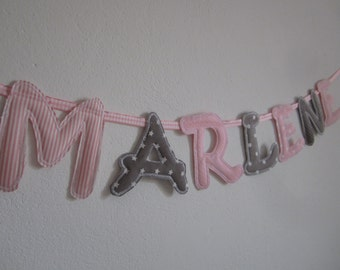 Fabric letter, name Garland, letter Garland pink/taupe