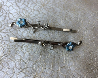 Bobby pin pair on silver tone, with thinestones , vintage