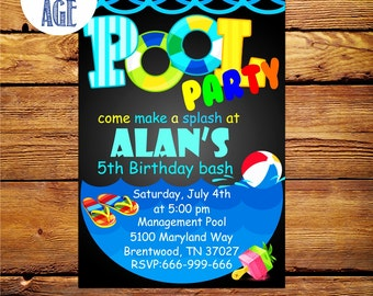 Pool Party Invitation,Pool Party,Swimming Pool Birthday Party, Summer birthday invitation,Pool Party Invites,Swim Party invitation