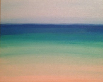 Teal beach painting