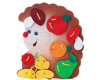 Funny Hedgehog - Wooden puzzle-tie, Eco puzzle, Wooden toys, Educational Toys, Kids' toys