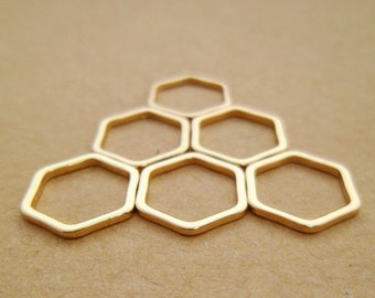 20pcs 18k Gold Plated Geometry Honeycomb / Hexagonal Link Charms Connectors for Minimalist Wedding or Gifts 0103-0101-1