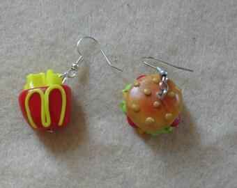 Earrings burgers fries mc donald fimo
