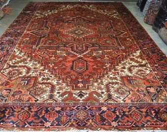 Persian rug hand knotted heriz 10.2 x 13.6