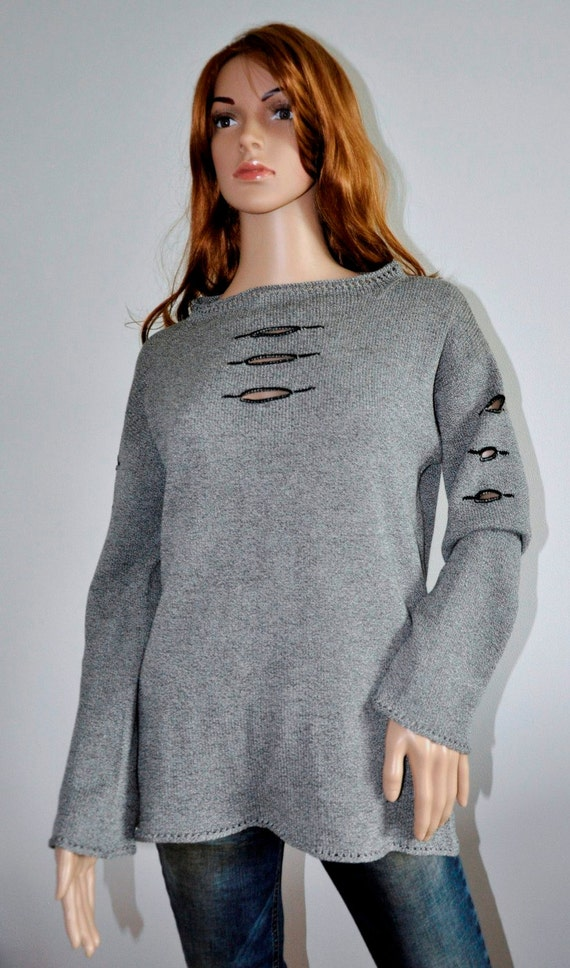 Trendy sweater Black White melange cotton pullover  long sleeves Original Design Women  loose knit boho jumper Ready to Ship Womens wear M/L
