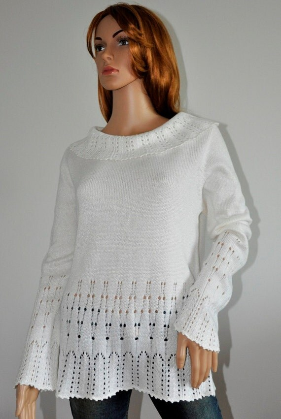 White tunic sweater wool viscose pullover Women's loose knit  jumper Ready to Ship Womens wear L/XL