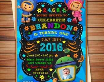 Team Umizoomi Photo invitation for boy, Team Umizoomi party digital chalkboard invitation, Team Umizoomi party, Thank you card free!