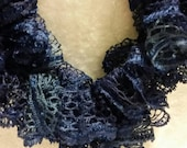 Ruffled crocheted Sashay sequins scarf in navy blue
