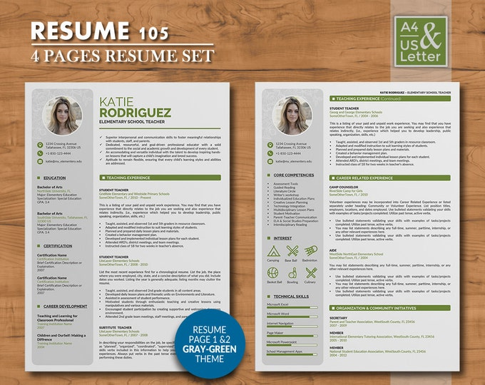 Teacher Resume Template 4 Pages Professional Word Resume Design With Cover Letter Reference Creative Cv Template Resume 105