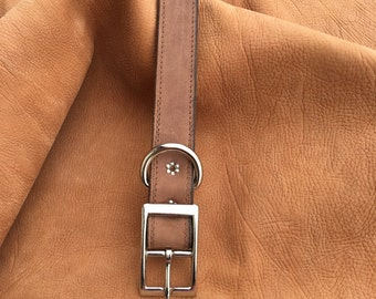 Genuine Crazy Horse Leather Dog Collar, Brown