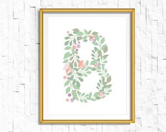 Instant Download Personalized Name Nursery Printable Monogram Art Print | Custom Nursery Printable Monogram Floral Letter B | FA-749 BQ-128
