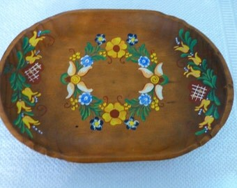 Decorative wood bowl/tray hand painted made in Germany