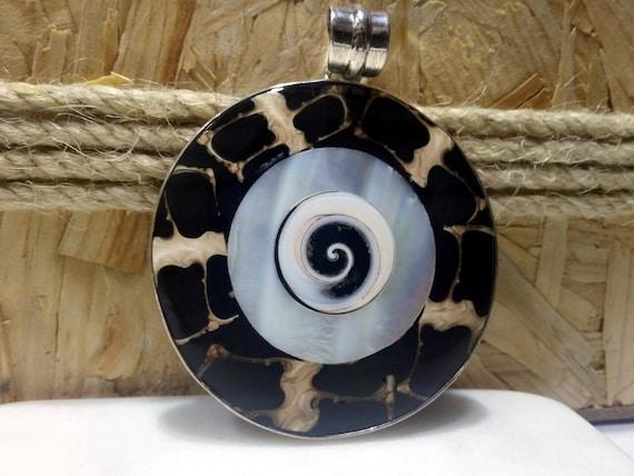 Silver MOP Pendant, Handmade Design Pendant, Big stone Pendant, Natural Stone Pendant, Big Pendant, textured stone pendant, Wedding gifts