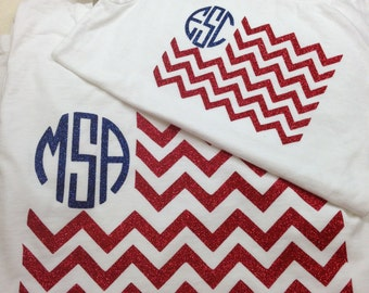 Mommy and me chevron flag shirts GLITTER